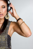 écouteurs de fille Image libre de droits