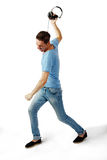 Écouteurs de lancement masculins fâchés Photographie stock libre de droits