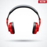 Écouteurs de vecteur d'isolement sur le fond blanc Photo stock