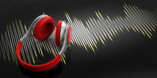 écouteurs du rendu 3d et onde sonore sur le fond noir Photo libre de droits