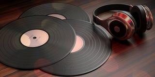 Écouteurs et disques de LP de vinyle sur le fond en bois, bannière illustration 3D illustration de vecteur