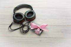 Écouteurs et joueur Photos libres de droits