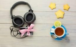 Écouteurs et joueur Image libre de droits