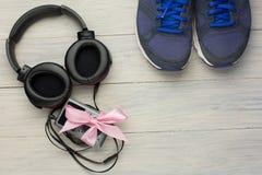 Écouteurs et joueur Images libres de droits