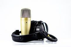 Écouteurs et microphone Photo stock