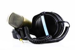 Écouteurs et microphone photographie stock libre de droits