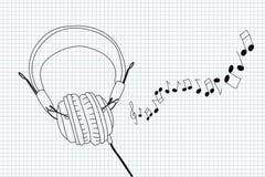 Écouteurs et notes Photo libre de droits