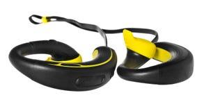 Écouteurs imperméables, écouteurs en jaune et noir Images libres de droits