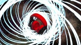 Écouteurs légers du DJ de spectre d'univers de fusée de l'espace de musique illustration stock