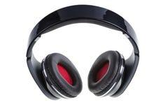 Écouteurs noirs avec la remplissage noire et rouge Image stock