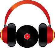 Écouteurs rouges avec le disque de vinyle Image libre de droits