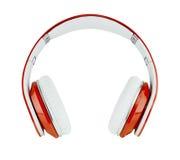 Écouteurs rouges sur le fond blanc photos libres de droits