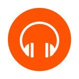 Écouteurs sains, icône ronde, style plat Photo stock