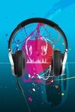 Écouteurs sur le bleu Photo libre de droits
