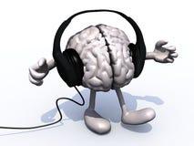 Écouteurs sur un grand cerveau avec des bras et des jambes illustration libre de droits
