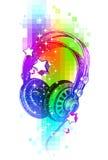 Écouteurs tirés par la main sur un fond coloré Images libres de droits