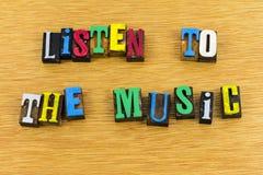 Écoutez la musique apprécient l'impression typographique Image stock