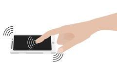 Écran émouvant de smartphone de main illustration libre de droits