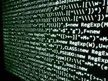 Écran abstrait de programmation de code de programmateur de logiciel Ordinateur photographie stock libre de droits