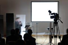 Écran blanc à la conférence. photo stock