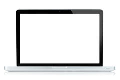 Écran blanc d'ordinateur portable d'isolement sur le blanc photo libre de droits