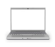 Écran blanc d'ordinateur portatif de vue de face [chemin de découpage] Photo stock