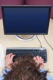 Écran blanc supplémentaire d'utilisateur d'ordinateur Photo stock