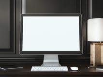 Écran blanc vide sur la table foncée rendu 3d Photos libres de droits