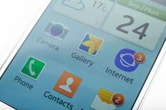 Écran d'accueil d'un smartphone d'Android montrant ses apps photographie stock