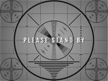 Écran d'essai du cru TV Veuillez se tenir prêt le modèle de calibrage de télévision illustration stock