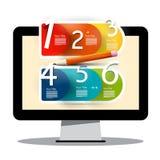 Écran d'ordinateur avec des six étapes créative Infographic illustration de vecteur