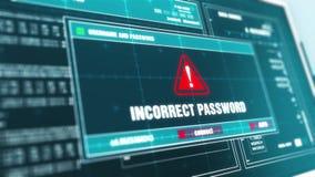 Écran d'ordinateur d'avertissement de message d'erreur d'alerte de sécurité des systèmes de mot de passe incorrect clips vidéos