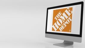 Écran d'ordinateur moderne avec le logo de Home Depot agrafe de l'éditorial 4K illustration libre de droits
