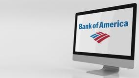 Écran d'ordinateur moderne avec le logo de la Banque d'Amérique Rendu 3D éditorial Image libre de droits
