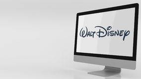 Écran d'ordinateur moderne avec le logo de Walt Disney Rendu 3D éditorial Image stock