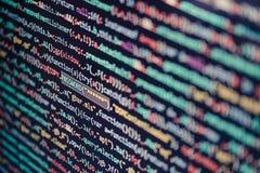 Écran d'ordinateur montrant le code de programme images stock