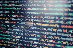 Écran d'ordinateur montrant le code de programme photographie stock