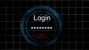 Écran d'ouverture - sécurité invalide de Cyber de mot de passe illustration libre de droits
