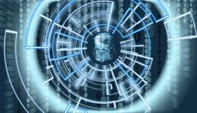 Écran de l'OM d'empreinte digitale abstraite avec le code de matrice à l'arrière-plan et patern virtuels l'entourant images libres de droits