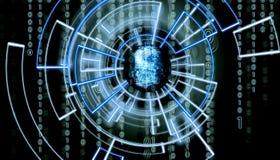 Écran de l'OM d'empreinte digitale abstraite avec le code de matrice à l'arrière-plan et patern virtuels l'entourant photos stock