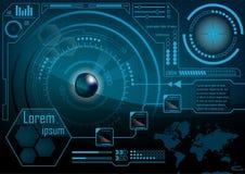 Écran de moniteur de HUD GUI Radar Technologie futuriste s externe de jeu illustration libre de droits