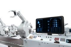 Écran de panneau de commande avec les bras robotiques Photographie stock libre de droits