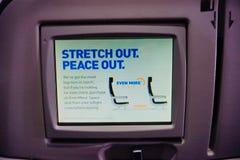 Écran de place d'avion de Jetblue Photos libres de droits