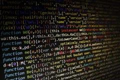 Écran de programmation de code de programmateur de logiciel Ordinateur photographie stock