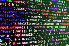 Écran de programmation de code source de codage Image stock