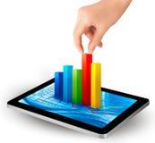 Écran de tablette avec le graphique et une main illustration stock