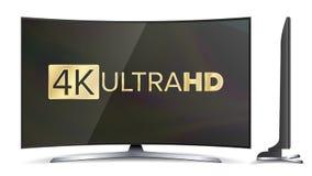 écran de vecteur de 4k TV Signe d'UHD De TV format de résolution ultra HD Illustration Images libres de droits