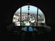 Écran de ville de fenêtre de vue Photo stock