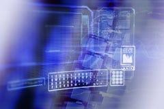 Écran de visualisation bleu de réseau de données Image libre de droits