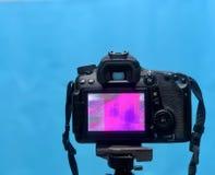 Écran de visualisation d'affichage à cristaux liquides de DSLR avec la texture de pixel de la matrice de caméra sur un trépied su image libre de droits